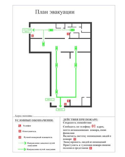 Локальный план эвакуации при пожаре образец